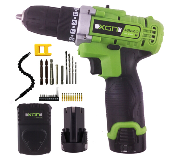 XGN khoan khoan khoan điện gia dụng đèn pin sạc không dây súng đang ngược bộ máy công cụ một tuốc nơ