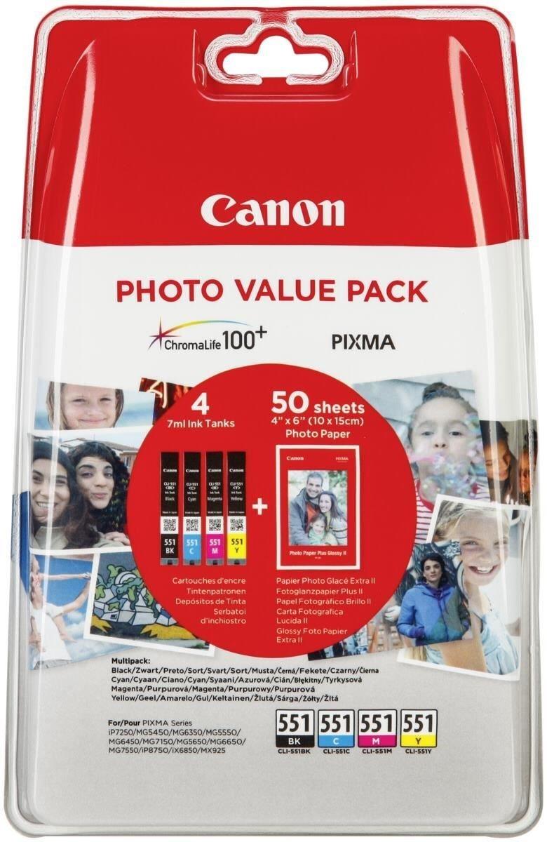 Canon cli-551 lợi thế gói 4 x 6 vết bỏng, giấy ảnh chụp pp-201 50 tấm + sản phẩm xanh đỏ vàng và mực