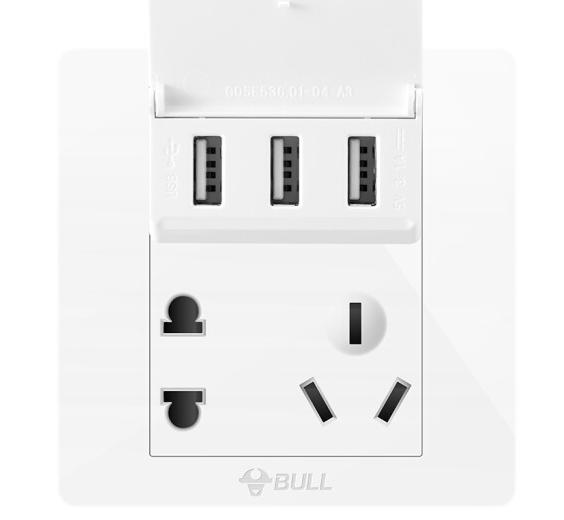 Bò (BULL) chuyển đổi ổ cắm USB ổ cắm điện Tường ba năm Lỗ Điện G07E536 bảng chuyển đổi ổ cắm
