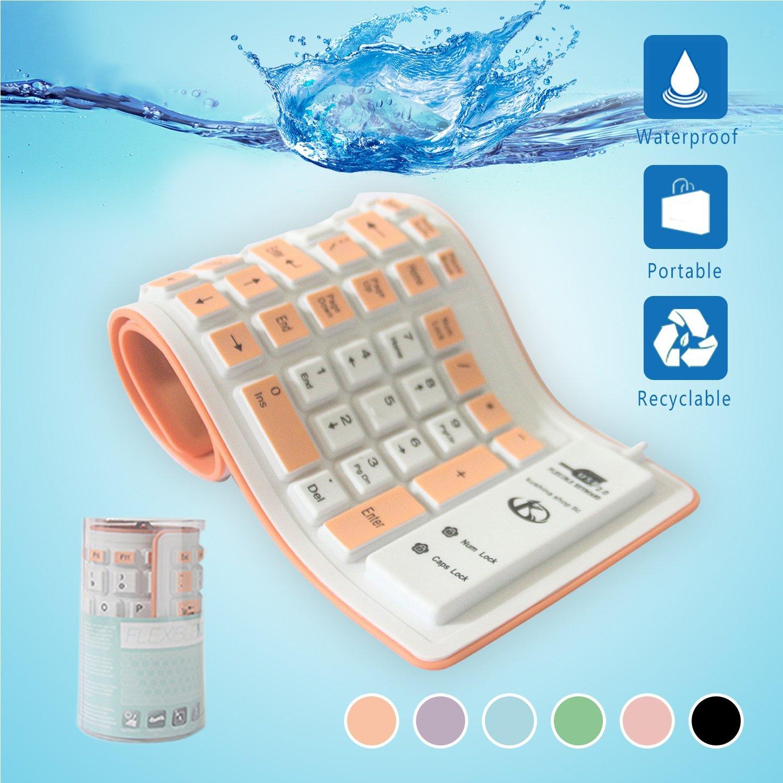 Alinshi mềm có thể gấp silica gel USB bàn phím không thấm nước cam.
