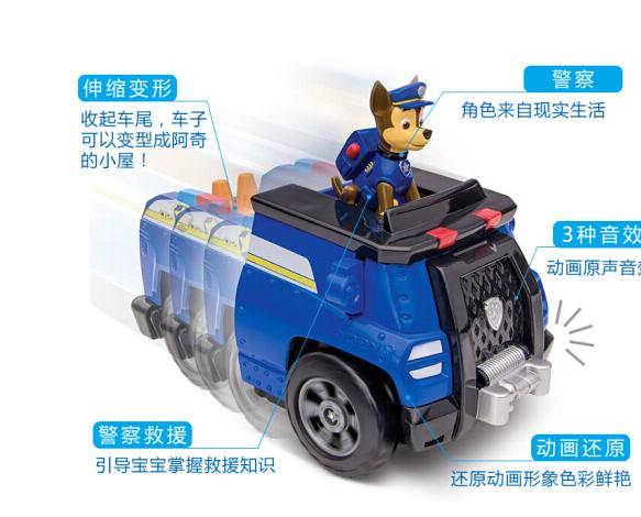 Máy xúc rưng rưng đội lập công lớn (PAW PATROL chiếc xe đồ chơi đồ chơi trẻ em), bộ dạng chó tuần tr