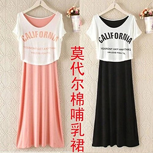 Đầm  Mùa hè thời trang phụ nữ mang thai giếng phụ nữ mặc váy áo bông cho con bú bú sữa mẹ cho con bú