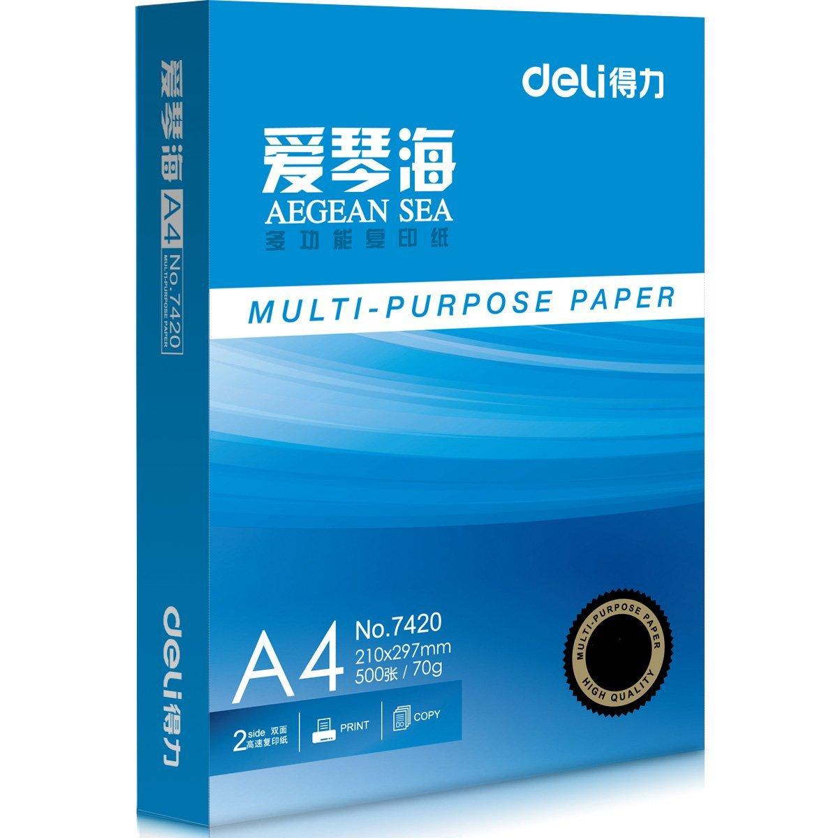 Deli    Cánh tay phải Deli 7420 Aegean 70 gam /80 gam A4 bản sao giấy in giấy nhập khẩu bột giấy 50