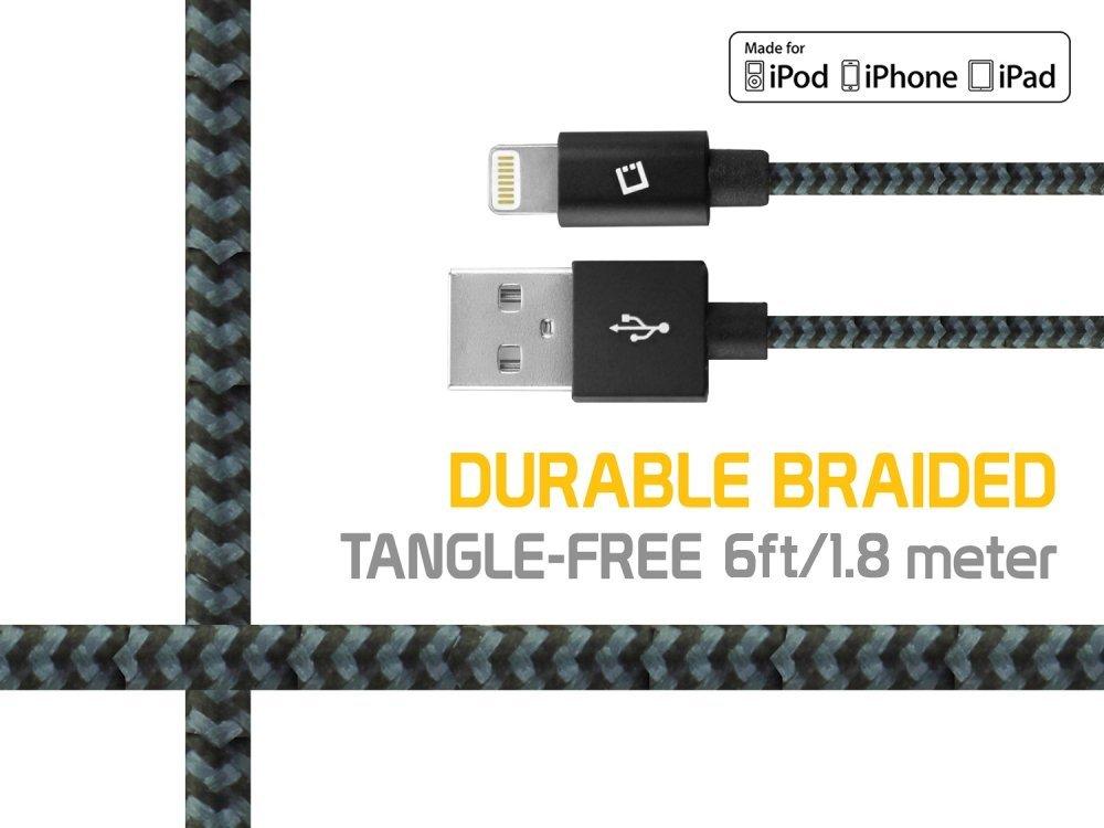 Dòng dữ liệu Cellet Bolt USB 6 feet (1.8 m) hạng nặng đồng bộ dữ liệu nylon đan dây sạc USB /