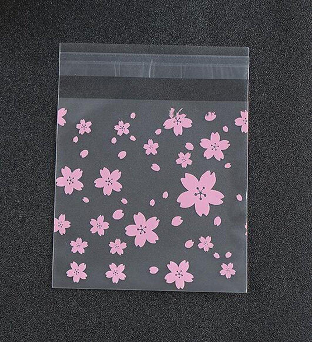 Pinklife    Hoa Anh Đào Hồng OPP 100 PCS bánh cookie túi bánh kẹo trong suốt lễ cưới cellophane túi