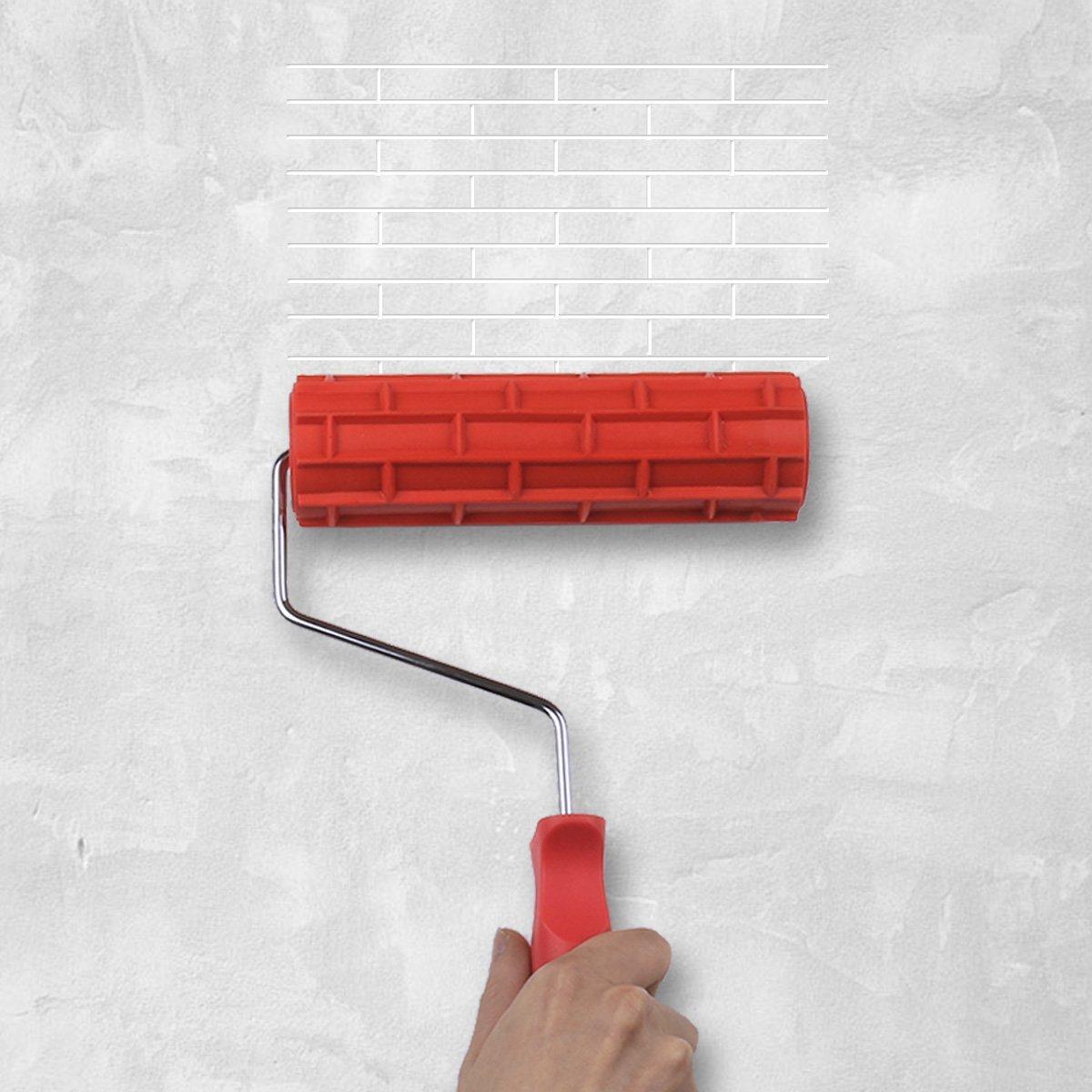 Chictry 6.99 cm gạch tường hình kết cấu tay áo chải vẽ trang trí sơn lăn DIY công cụ đưa tay cầm.
