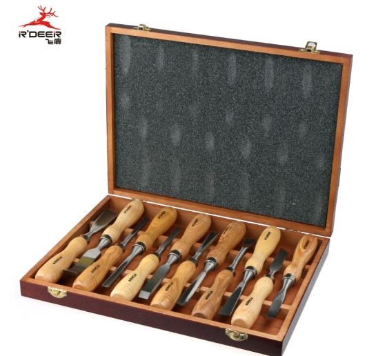 R'DEER R'DEER bay Lộc 12 mảnh khắc đục chạm khắc hoa văn ở nhóm bộ dao khắc đục đẽo bằng gỗ M112 d