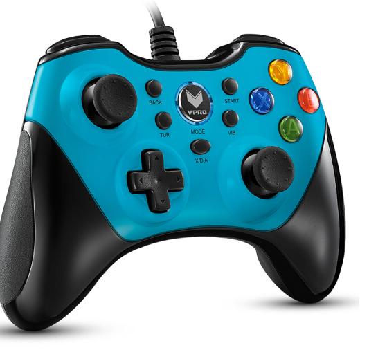 (Rapoo) V600 cấp Gaming rung động trò chơi cầm màu xanh.