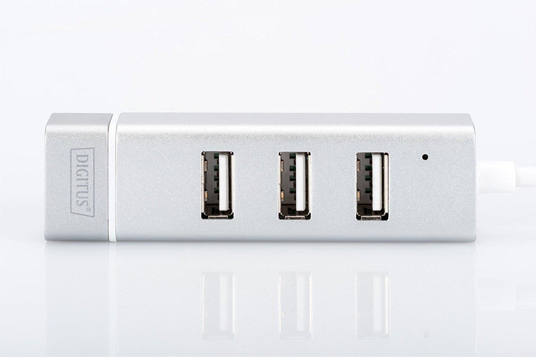 Digitus Thứ ba cổng USB Fast Ethernet 2 căn cứ Hub USB và Nic, 3 A / F, 1 * RJ - 45 LAN cổng, chipse