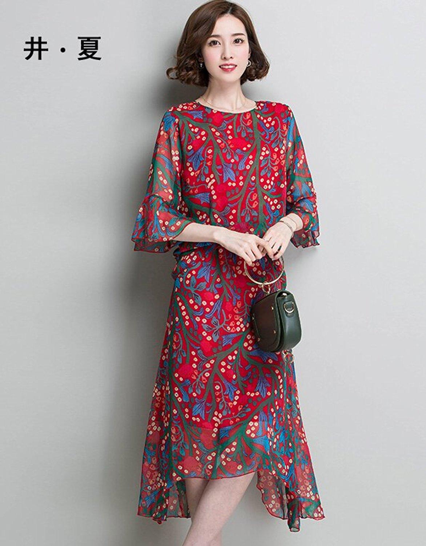 Đầm  Mùa hè mùa hè 2017 giếng đứng đầm West chặt lỏng thắt lưng váy tem 5 điểm trong tay áo dài váy