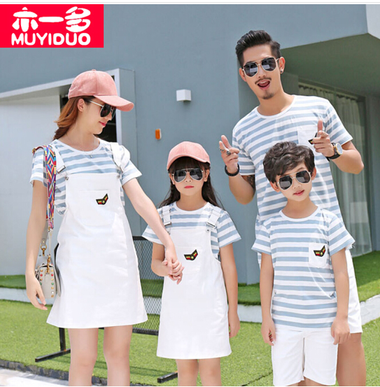 Áo thun ngắn tay sọc trắng xanh cho cả gia đình Muyiduo