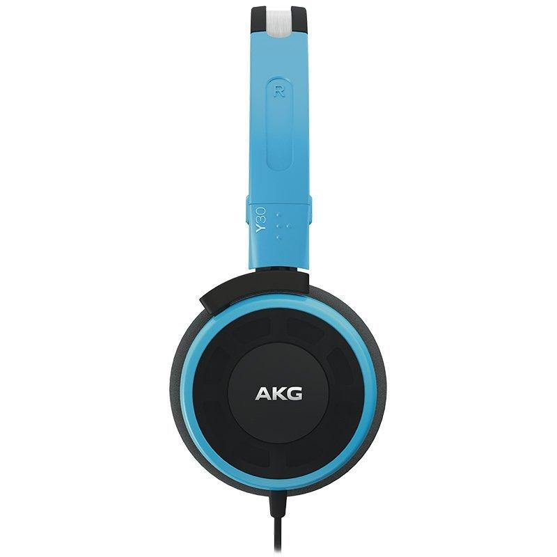 AKG Y30 đầu đeo tai nghe stereo, điện thoại, điện thoại di động tai nghe màu xanh.