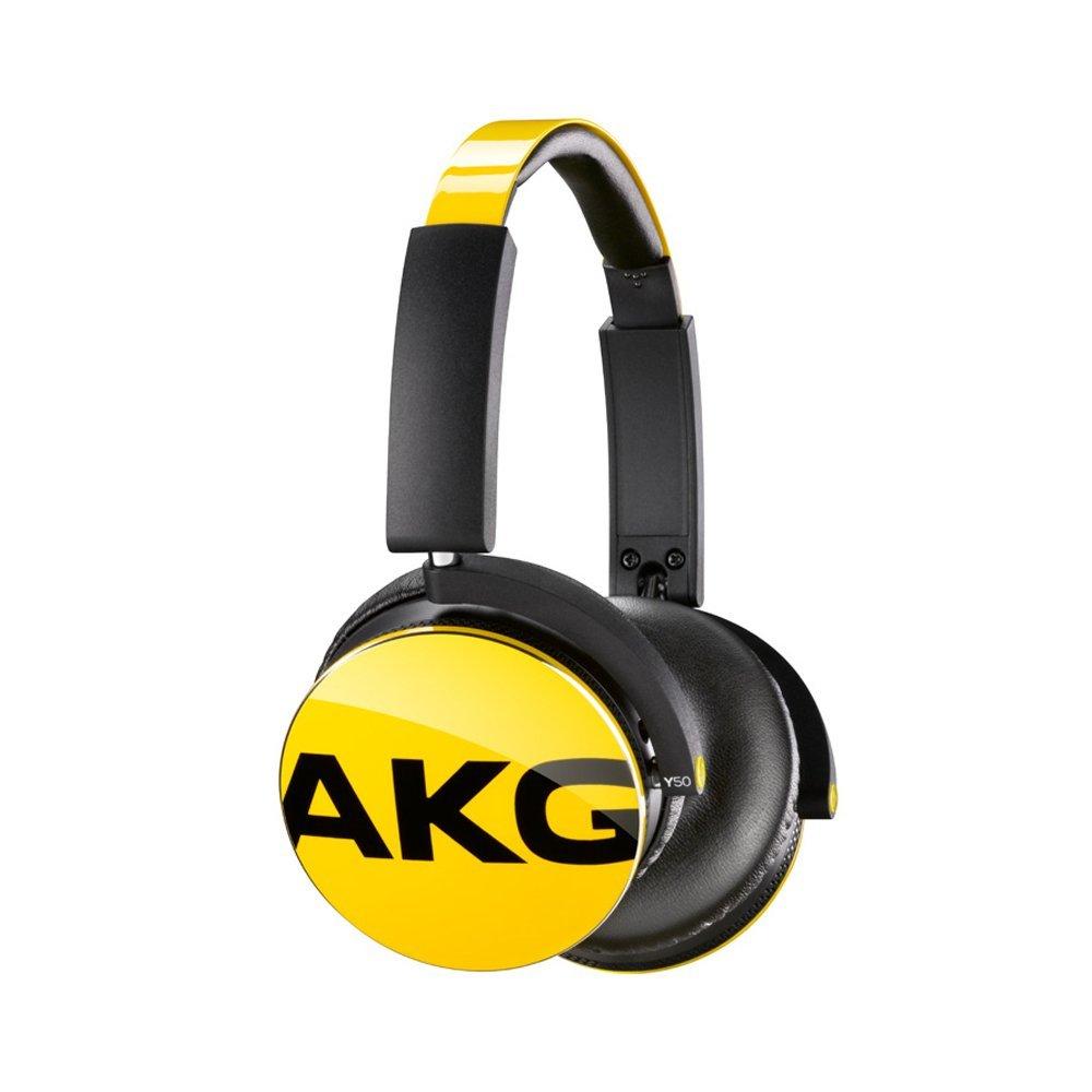 AKG Y50 đeo tai nghe stereo đầu xách tay bass nặng tai nghe điện thoại màu vàng.