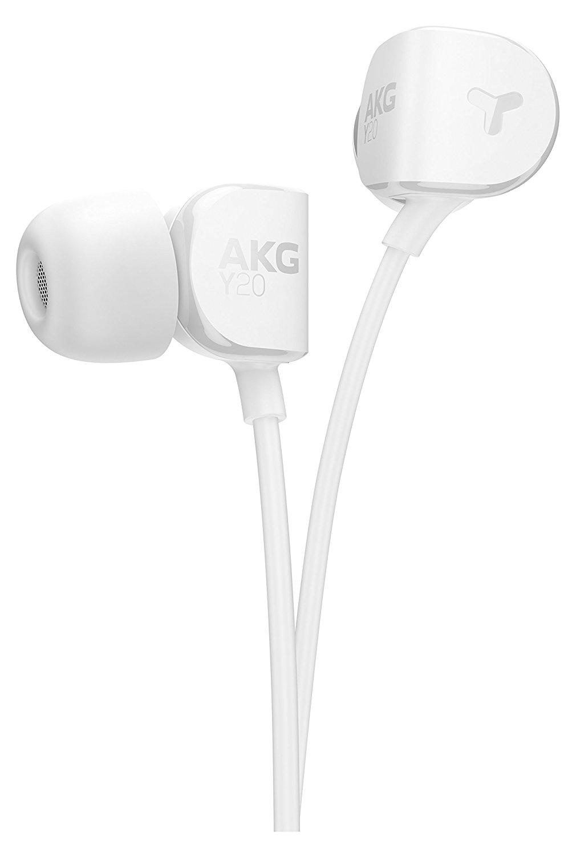 AKG Y20 tai nghe điện thoại kiểu tai nghe stereo nghe lọt tai màu trắng.