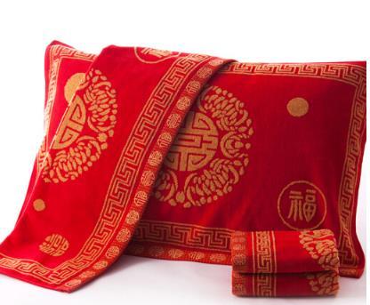 KING SHORE đỏ áo gối hai + khăn hai bốn mảnh Hỷ từ những món quà cưới không xoắn 4 mảnh áo gối mềm t