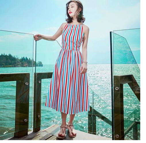 đai , dây , chỉ  Mùa hè 2018 mới hấp dẫn không tụ đầm bãi biển nghỉ mát băng màu áo sọc cổ điển ảnh