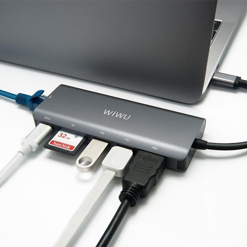 WiWU laptop Apple thể H1 Plus Ethernet adapter USB-C bật dây sạc 1 Type-c miệng một đầu đọc 2 giao d