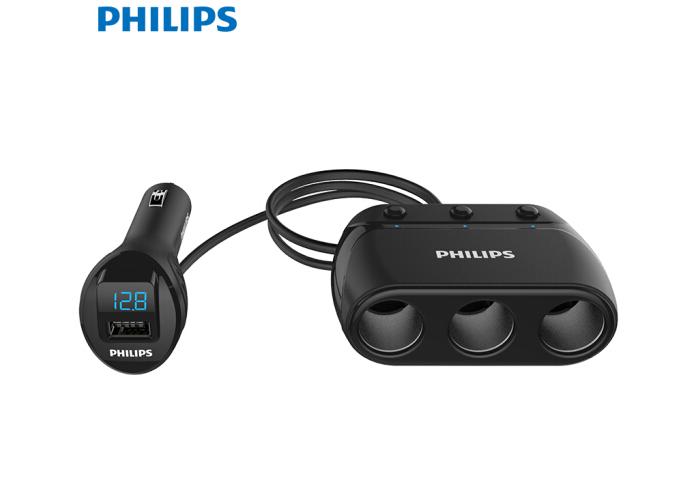 5 triệu Philips (PHILIPS) xe gắn máy xe Charger sạc / châm thuốc ba DLP2019 đen phát hiện độc lập cô