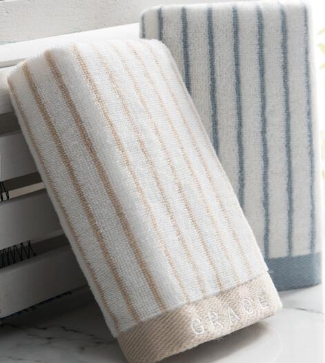 Grace cotton màu (Grace) khăn vằn series kinh điển mạnh hút khăn hai đường nạp Lan / nâu, 72*34cm