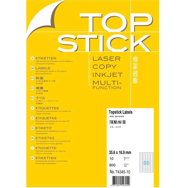 TOPSTICK T4345-10 Đức quốc Top A4-10 tấm nhãn in nhãn 35.6x16.9mm