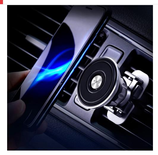 CarSetCity Hãng điện thoại thẻ xe trang trí khung nhôm hợp kim loại đen hút từ ổ cắm loại phổ biến C