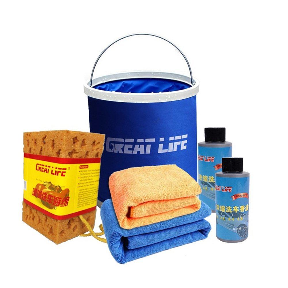 GREAT LIFE rửa xe, một bộ công cụ đơn giản (gấp khăn xô + 2 đường + rửa xe bọt biển + rửa xe dịch 2