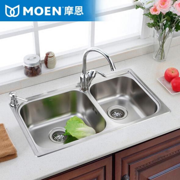MOEN (MOEN) hai rãnh bồn bồn rửa bát giặt món ăn gói 304 thép không gỉ chậu rửa chén. Bể bơi nhà bếp
