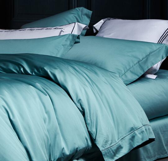 LOVO Trộn LOVO sống sản phẩm bốn mảnh xa hoa màu đặc giường phẩm Suite Lafitte (Green) 1.8 mét giườn