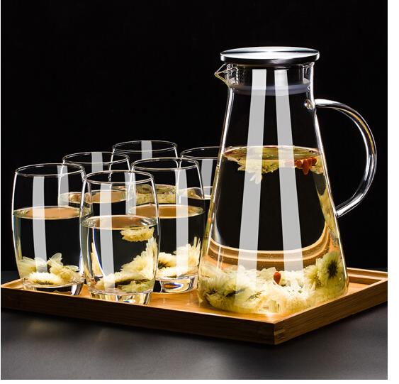 Le ly tách bộ lọc kính nhiệt ấm nước lạnh vào cốc nước nhà, 6 khẩu + Kettle + bôi bàn hình oval.