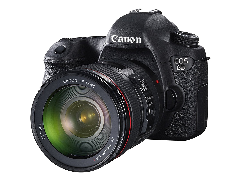 Canon EOS 6D + EF - 24 - 105 IS STM máy ảnh màu đen.