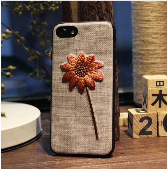 purecolor Điện thoại đấy. 6plus táo thuần dầu vỏ iPhone6/6s thêu hoa văn nghệ bảo vệ bộ iPhone6plus-
