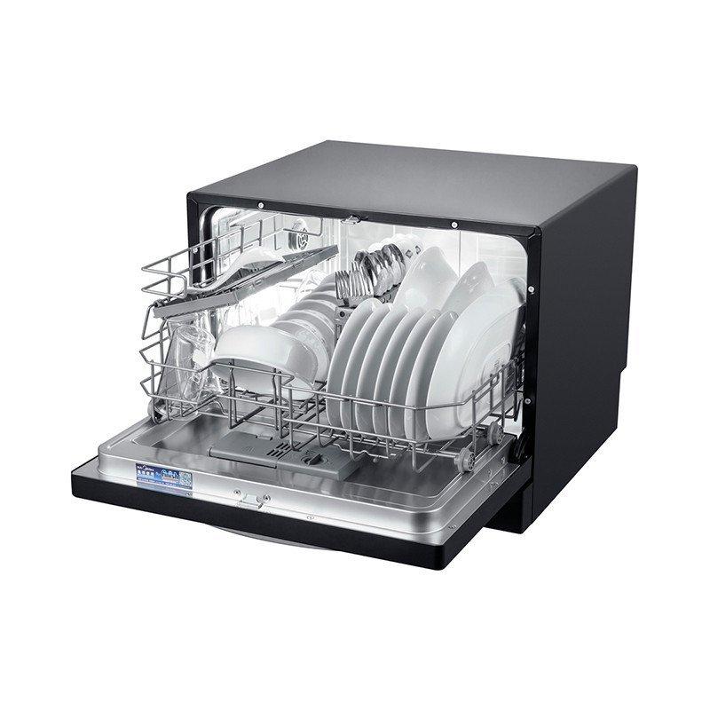Máy rửa chén   Vẻ đẹp của Midea WQP6-3206A-CN rửa bát (6 bộ máy khảm kép, đen)