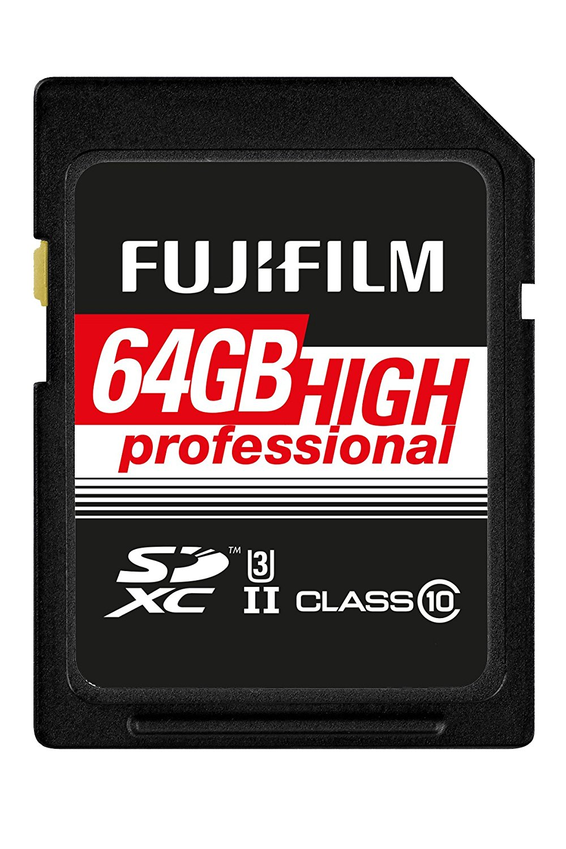 Fujifilm Fuji. SDXC-64GB tốc độ lưu trữ chuyên nghiệp thẻ C10 UHS-II đen.