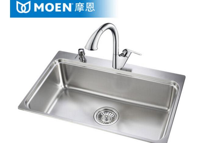 MOEN (MOEN) bồn rửa chén chậu than khe bộ đơn rãnh dày của thép không gỉ 29001 304 bồn 67001 kéo vòi