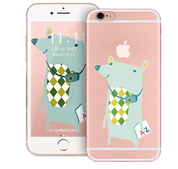 purecolor Rồng điện thoại vỏ táo thuần 6S transparent silica gel chống xuống chạm nổi hoạt hình 3D đ