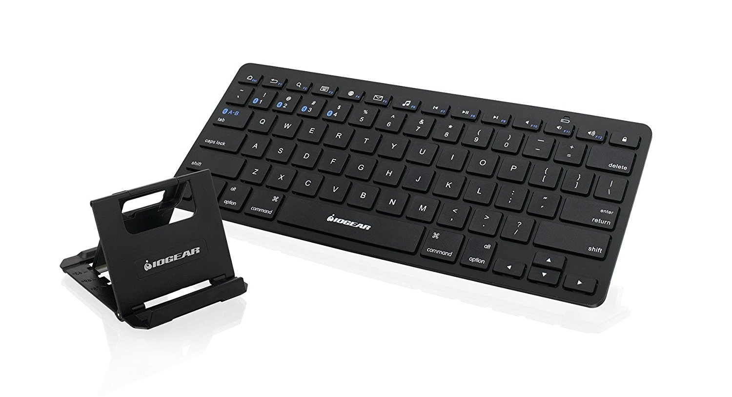 IOGEAR Slim Multi-Device Bluetooth Keyboard with Adjustable Stand for Smartphones and Tablets