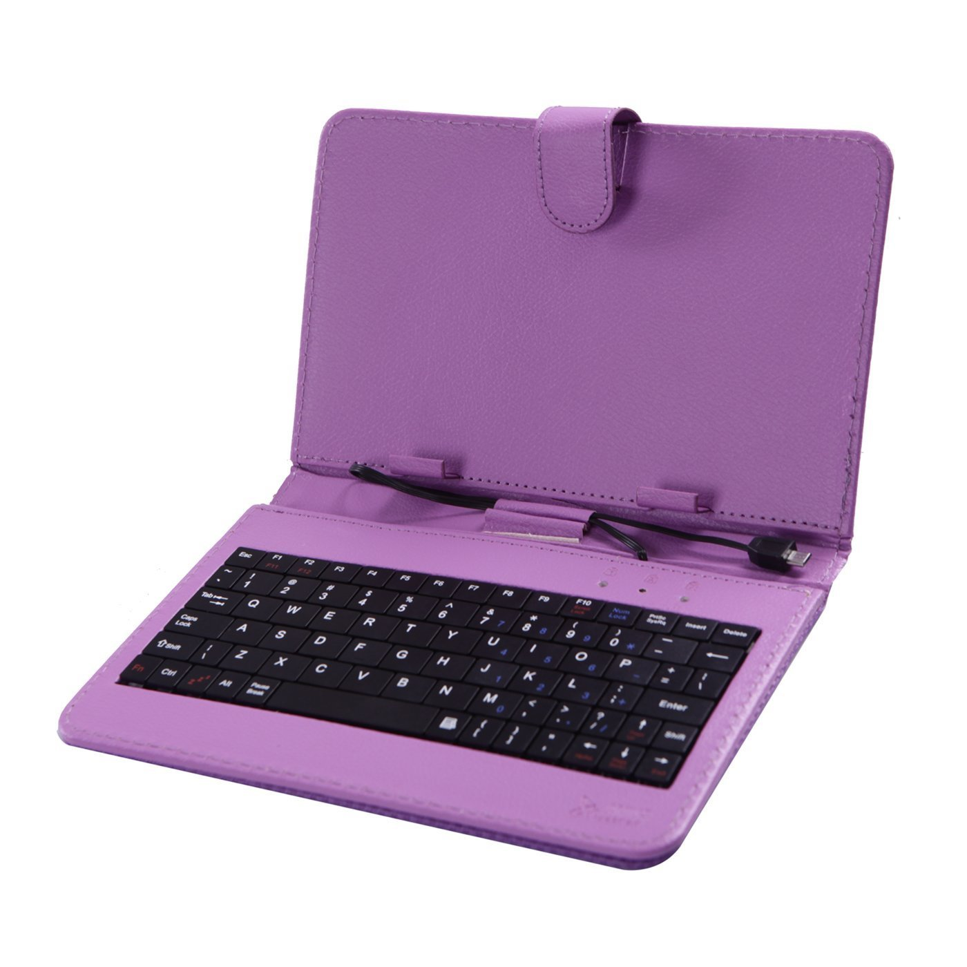 HDE Diamond Stitch Univeral Hard Leather Folding Folio Case Cover with Micro USB Keyboard for 7