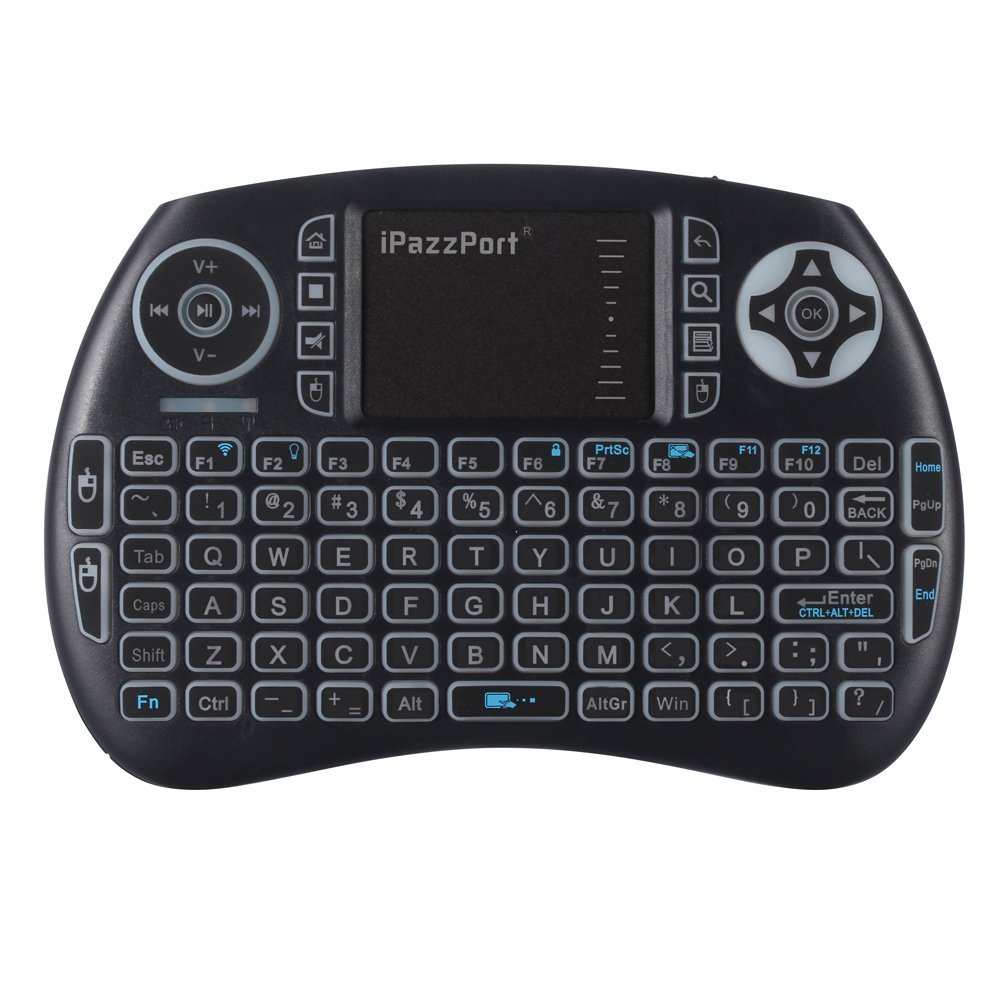 iPazzPort Backlit Keyboard and Bluetooth Mini Wireless Keyboard with Touchpad for Raspberry Pi and A