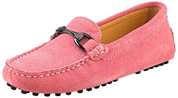 Giày lười nữ màu hồng chất liệu da nhám