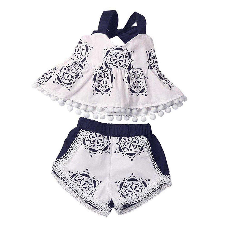 grnshts Bé gái màu xanh và trắng grnshts gốm sứ tem quai là La ngắn khoản Bộ quần áo +