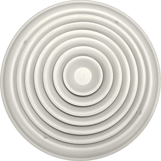 Speedi-Grille SG-RCR 14 14-Inch tròn trắng trần Air Vent Đăng ký với cố định Cone Diffuser và Bowtie