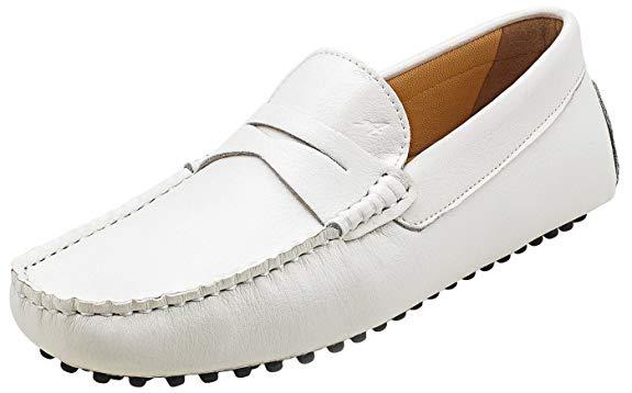 Giày lười da bò màu trắng Ausland Wardfong thời trang, sang trọng