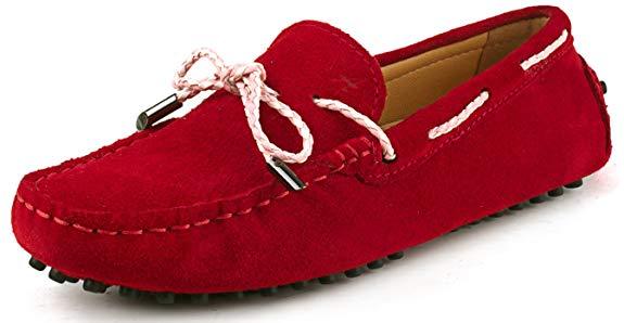 Giày lười thắt dây màu đỏ da nhám