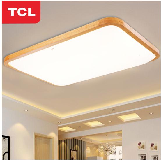 TCL ánh sáng Bắc Âu hiện đại đèn hình chữ nhật đơn giản. Gỗ thật đấy gỗ thô LED đèn phòng khách phòn