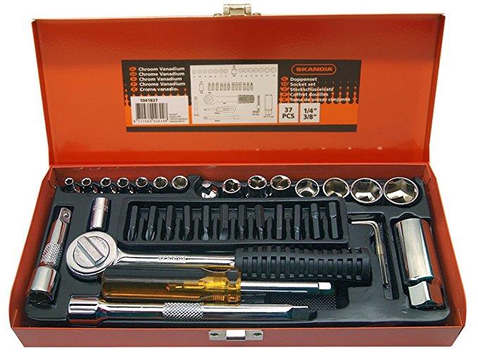 Skandia 1041827 ổ cắm cờ lê đặt 1/2 inch and3 / 1.8 CM 37 mảnh 1, nhiều màu