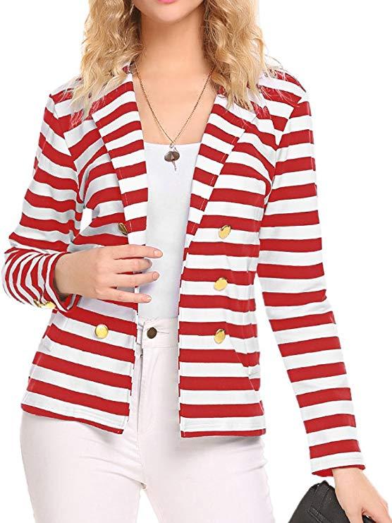 Naggoo của phụ nữ sọc mỏng kinh doanh blazer phù hợp với áo khoác lông outwear