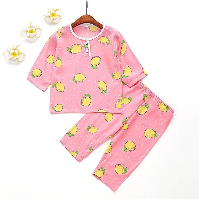 Bộ đồ cotton lụa mặc nhà cho trẻ em màu hồng, hình trái xoài DaiQimi