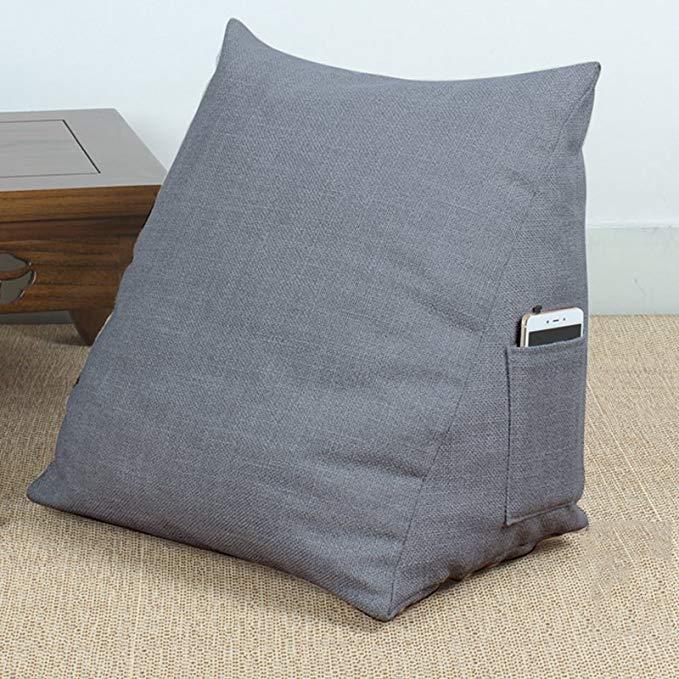 Maya O Lanzhi bông vải tam giác đệm lớn có thể tháo rời chống trượt giường đơn trở lại (màu xanh xám