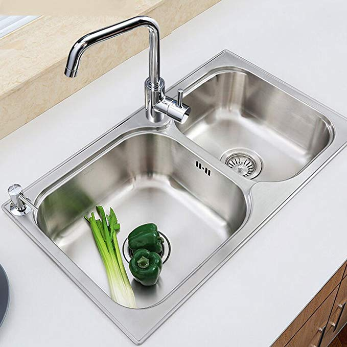 Bể chứa kích thước KOHLER Kohlers trên bồn rửa nhà bếp + Kefu nâng cấp vòi bếp K-72829T-2S-NA + K-97