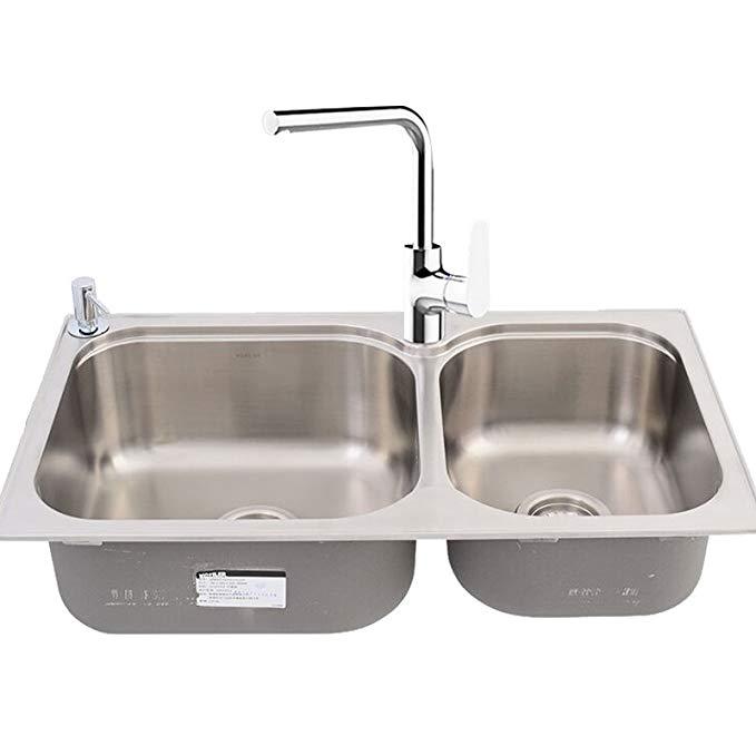 Vật dụng cho Nhà bếp : bồn rửa chén Rãnh Đôi kết hợp vòi nước K-72829T-2S-NA + K-99175T-4-CP